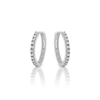 9ct White Gold Diamond Hoop Earrings image