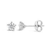9ct White Gold 5 Claw 0.50ct Diamond Stud Earrings image
