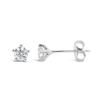 9Ct White Gold 5 Claw 0.42ct Diamond Studs image