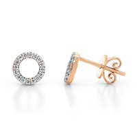 9ct Rose Gold Diamond Circle Stud Earrings image