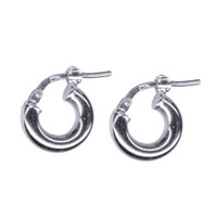 18ct White Gold Small Italian Plain Hoops image