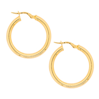 9ct Yellow Gold Italian Plain Hoops image