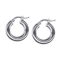 18ct White Gold Thick Italian Hoop Earrings image