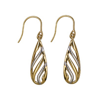 9ct Two Tone Polished Fancy Cut Out Teardrop Hook Earrings  image