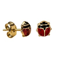 9ct Gold Childrens Enamel Ladybird Studs image
