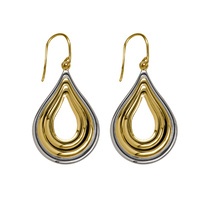 9ct YG & WG Teardrop Polished Open Centre Drop Hook Earrings image