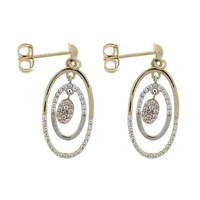 9ct 3 Tone Cz Oval Drop Earrings image