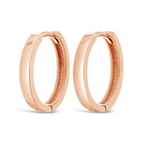 9ct Rose Gold Oval Huggies image