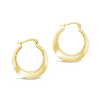 9ct Yellow Gold Crescent Hoop Earrings image