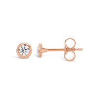 9ct Rose Gold Bezel Set Cz Stud Earrings image