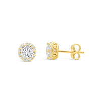 9ct Yellow Gold Claw Set Cubic Zirconia Cluster Stud Earrings image