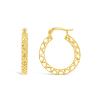 9ct Yellow Gold 21mm Diamond Cut Hoop Earrings image