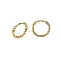 9ct Yellow Gold Small 10mm Plain Huggie Earrings image