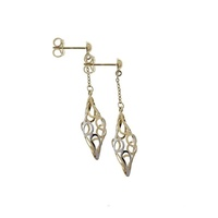 9ct Two Tone Gold Fancy Drop Earrings image