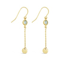 9ct Yellow Gold Blue CZ Cable Chain & Fine Gold Disc Drop Earrings image