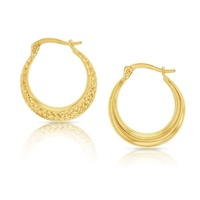 9ct Yellow Gold Diamond Cut Hoops image