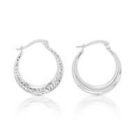 9ct White Gold Diamond Cut Hoops image