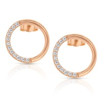 9ct Rose Gold Cz Circle Stud Earrings image
