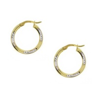 9ct Two Tone Diamond Cut 15mm Hoops image