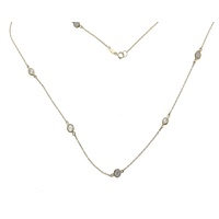 9ct Yellow Gold Fine Bezel Set Cz Chain image