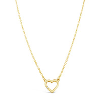9ct Yellow Gold Heart Pendant With Single Cubic Zirconia image