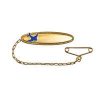 9ct Yellow Gold Oval Baby Brooch With Blue Bird image