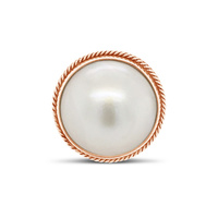 9Ct Rose Gold White Mabe Pearl Roped Edge Ring image
