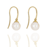 9Ct Yellow Gold Freshwater Pearl Hook Earrings image