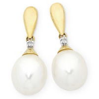 9ct Yellow Gold Diamond & Pearl Drop Earrings image