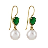9ct Yellow Gold Pearl & Emerald Hook Earrings image