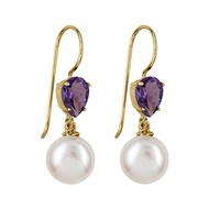 9ct Yellow Gold Freshwater Pearl & Amethyst Earrings image