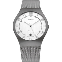 Bering Mens Brushed Titanium Silver Dial Watch image