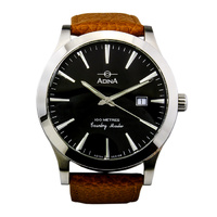 Adina Mens Stainless Steel Case and Brown Strap Oceaneer Watch image
