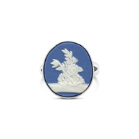 Sterling Silver Medium Blue Jasper Wedgwood Ring image