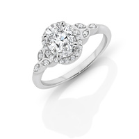 Sterling Silver Cz Oval Halo Ring image