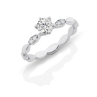 Sterling Silver Cubic Zirconia Solitare with oval patterned Band image