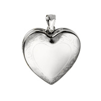 Sterling Silver Engraved Heart Memorial Locket image