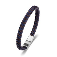 Mens Brown And Blue Braided Bracelet image