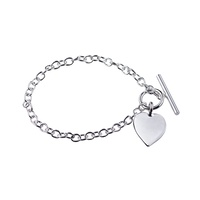 Sterling Silver Bracelet With T-Bar And Heart image