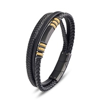 Mens Gold & Black Leather Bracelet image