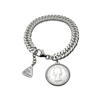 Sterling Silver Curb Chain Bracelet With Authentic Shilling Coin image