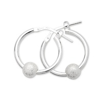 Sterling Silver Sparkle Hoop Earrings image