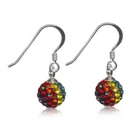 Sterling Silver Rainbow Crystal Ball Hook earrings image