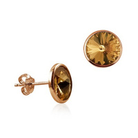 Rose Gold Plated Champagne Crystal Studs image