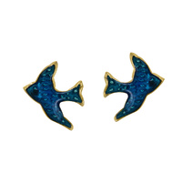 Gold Plated Sterling Silver Bluebird Studs image