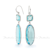 Pastiche Silver Light Blue Chandelier Earrings image