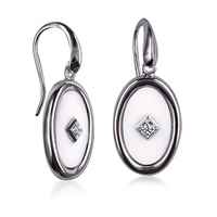 Sterling Silver White Agate And CZ Set Hook Earrings image