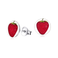 Sterling Silver Strawberry Print Stud Earrings image