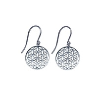 Sterling Silver Round Flower of Life Geometric Earrings image