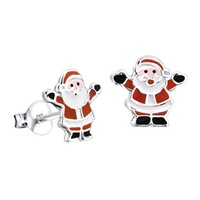 Sterling Silver Enamel Christmas Santa Earrings image